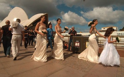 Bridal party at Sydney Opera House