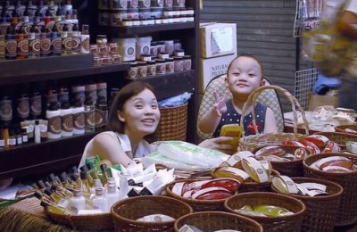 Asian family in their shop