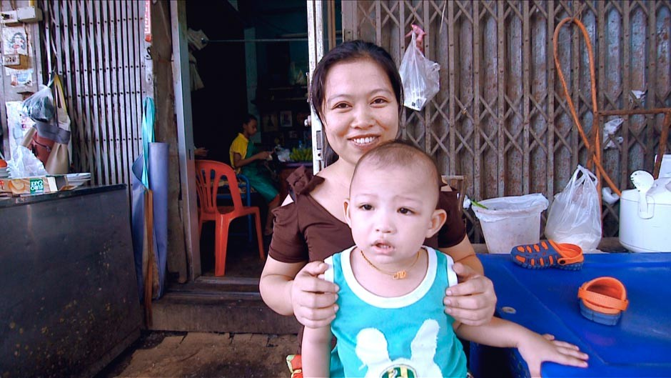 Thai woman with her son